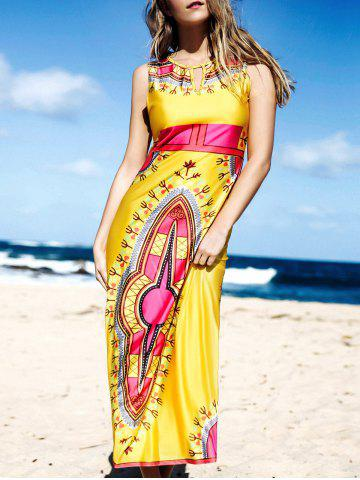 Fancy Ethnic Round Neck Sleeveless Printed Hollow Out Women's Dress
