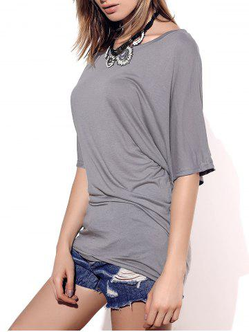 Boat Neck Short Sleeve Solid Color T Shirt