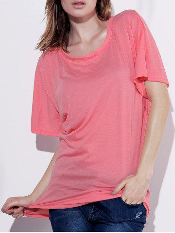 Stylish Boat Neck Short Sleeve Solid Color T-Shirt For Women - PINK S