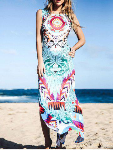 Outfit Maxi Slit Printed Boho Dress for Summer - L BLUE Mobile