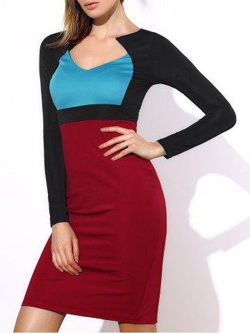 Outfit Sexy Color Block Long Sleeve Bodycon Midi Dress For Women