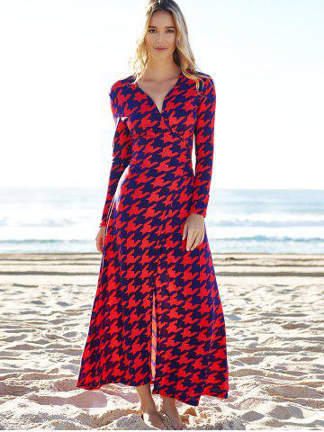 Trendy Alluring Plunging Neck 3/4 Sleeve Houndstooth High Slit Women's Dress