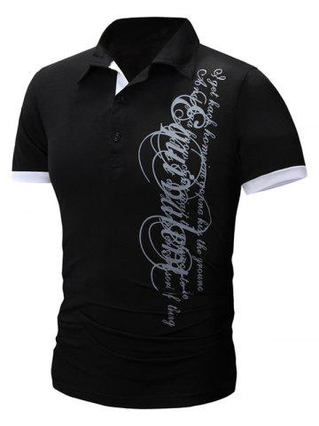 Shops Trendy Turn-Down Collar Letter Print Men's Short Sleeve Polo T-Shirt
