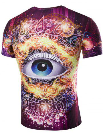 New 3D Abstract Eye Print Round Neck Galaxy T-Shirt - 2XL COLORMIX Mobile