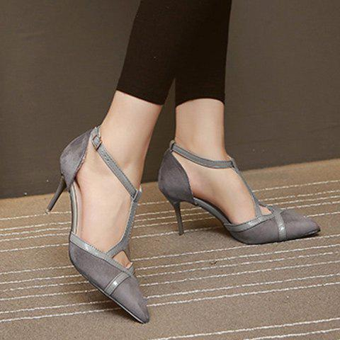 Latest Elegant T-Strap and Pointed Toe Design Pumps For Women - 38 GRAY Mobile