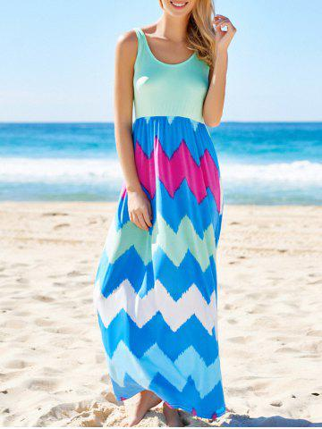 Chic Bohemian Scoop Neck Zigzag Sleeveless Dress For Women