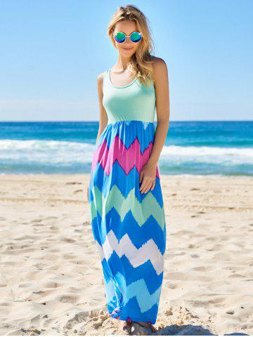 Outfits Bohemian Scoop Neck Zigzag Sleeveless Dress For Women - S GREEN Mobile