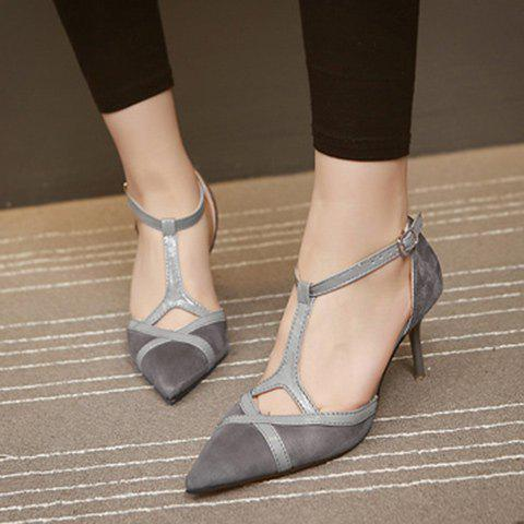 Latest Elegant T-Strap and Pointed Toe Design Pumps For Women - 37 GRAY Mobile