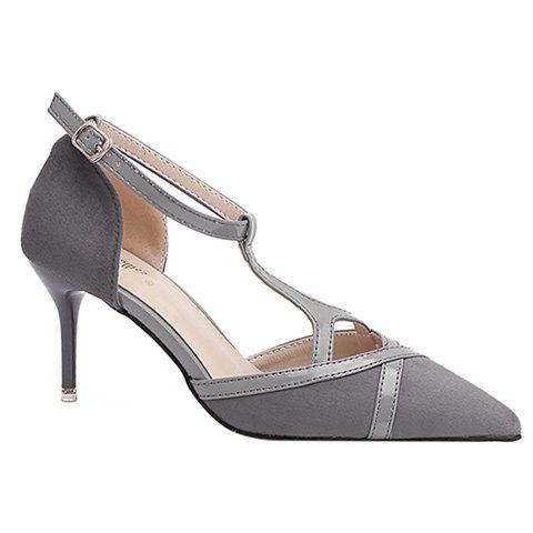 Chic Elegant T-Strap and Pointed Toe Design Pumps For Women - 37 GRAY Mobile