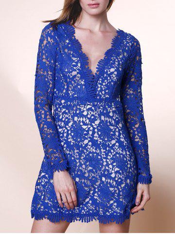Discount Mini Plunge Long Sleeve Lace Backless Dress - XL BLUE Mobile