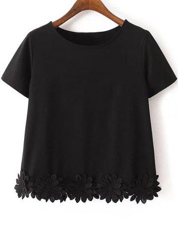 Outfits Casual Short Sleeve Flower Appliqued Women's T-Shirt