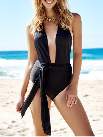 Store Sexy Halter Neck Solid Color Low Cut One-Piece Women's Swimwear