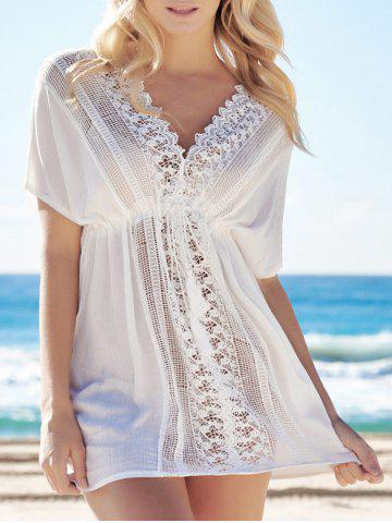 Shop Alluring Plunging Neck Short Sleeve Cut Out Lace-Up Women's White Cover-Up