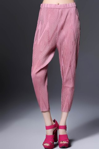 Discount Ruched Solid Color Ninth Pants
