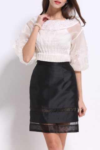 Best Boat Neck Beaded Flower Blouse and Skirt Twinset
