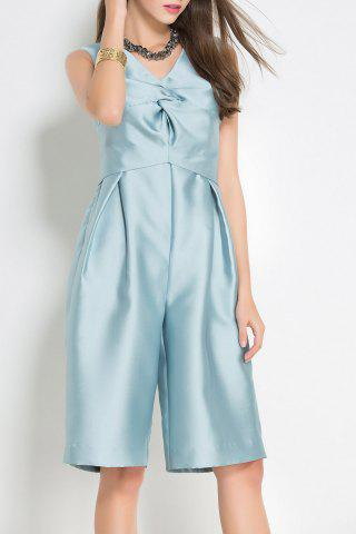 Outfit V Neck Ruched Solid Color Midi Jumpsuit