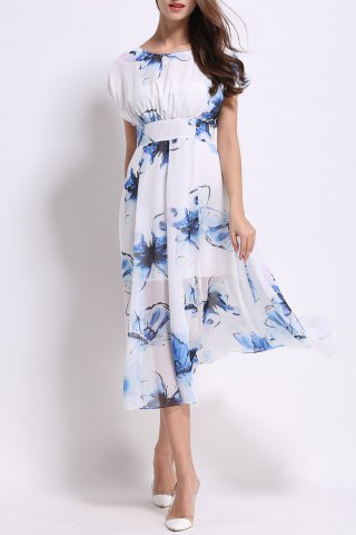 Affordable Round Collar Floral Print Mid-Calf Dress