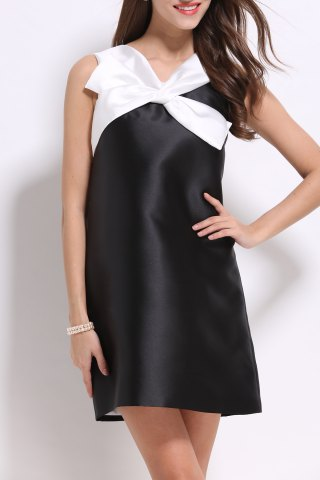 Outfits V Neck Color Block Bowknot Dress