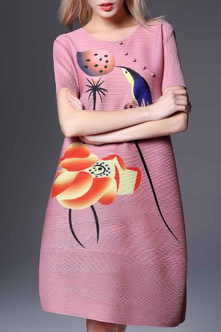Discount Round Collar Ruched Lotus Print Dress