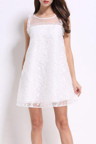 Sale Round Collar Embroidered Voile Dress