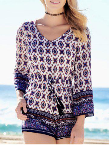 Latest Plunging Neck Graphic Long Sleeve Romper