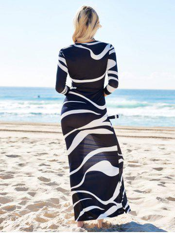 Hot Printed High Waist Maxi Bodycon Plunge Prom Dress With Sleeves - XL WHITE AND BLACK Mobile
