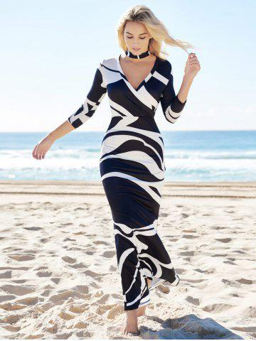 Store Printed High Waist Maxi Bodycon Plunge Prom Dress With Sleeves - XL WHITE AND BLACK Mobile