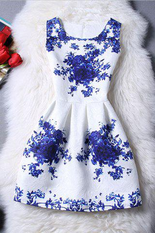 Discount Trendy Sleeveless Blue Rose Print Women's Dress