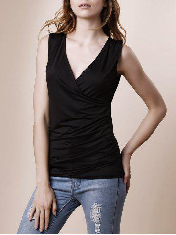 Sexy Plunging Neck Sleeveless Slimming Solid Color Ruched Tank Top For Women - Black - Xl