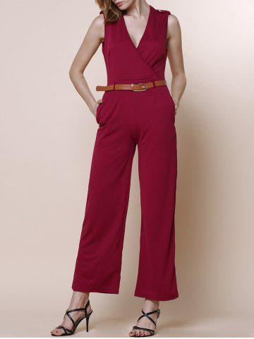 Shop V-Neck Sleeveless Wide Leg Jumpsuit RED L
