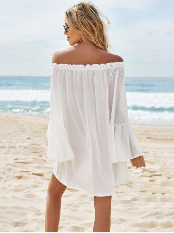 Fancy Off Shoulder Flounce Dressy Tunic Cover Up - ONE SIZE(FIT SIZE XS TO M) WHITE Mobile