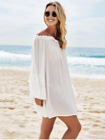 Affordable Off Shoulder Flounce Dressy Tunic Cover Up - ONE SIZE(FIT SIZE XS TO M) WHITE Mobile