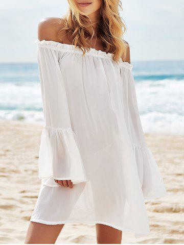 Outfit Off Shoulder Flounce Dressy Tunic Cover Up WHITE ONE SIZE(FIT SIZE XS TO M)