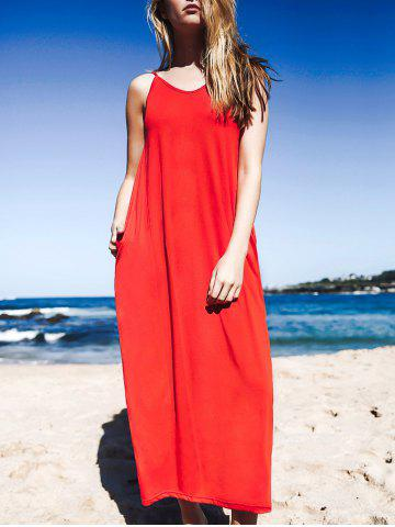 Maxi Baggy Style Tank Dress With Pockets - Red - S