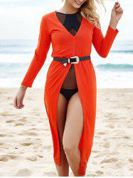 Alluring Plunging Neck 3/4 Sleeve High Slit Maxi Dress For Women -