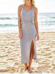 Sexy V Neck Sleeveless Backless High Slit Maxi Taupe Dress - GRAY