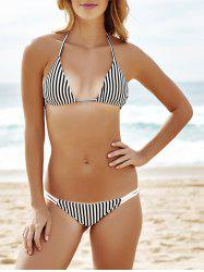 Alluring Spaghetti Strap Striped Bikini Set For Women