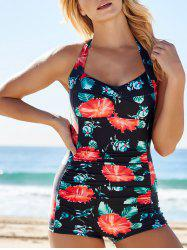 Floral Print Boyshort One Piece Bathing Suit - BLACK