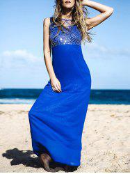 Elegant Round Neck Spliced Beading Embellished Backless Sleeveless Maxi Dress For Women - BLUE