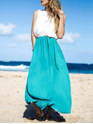 Two Tone Floor Length Swing Beach Summer Dress - WHITE AND GREEN