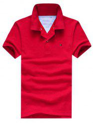 Embroidered Design Turn-Down Collar Short Sleeve Polo T-Shirt For Men - RED L