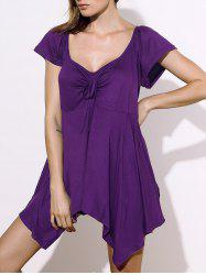 Stylish Square Neck Short Sleeve Solid Color Asymmetrical Women's Blouse - PURPLE