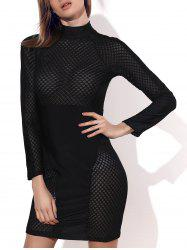 Stylish Round Collar Long Sleeve Openwork Dress For Women -