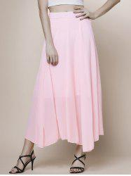 Chic High Waist Pink Chiffon Skirt For Women