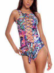 Printed Hollow Out Lace Up One-Piece  Swimsuit