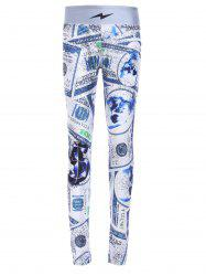 Chic Elastic Waist Dollar Printed Skinny Women's Yoga Pants - COLORMIX