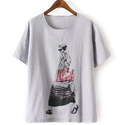 Fashionable Short Sleeve Figure Print Women's T-Shirt - GRAY ONE SIZE(FIT SIZE XS TO M)