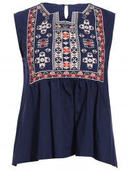 Trendy Notched Neck Embroidered Asymmetrical Women's Tank Top -