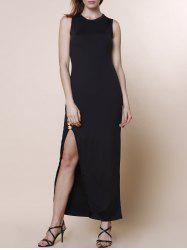 Elegant Round Collar Sleeveless Black High Slit Maxi Dress For Women