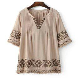 Chic Women's Embroidery V Neck Blouse - LIGHT COFFEE M